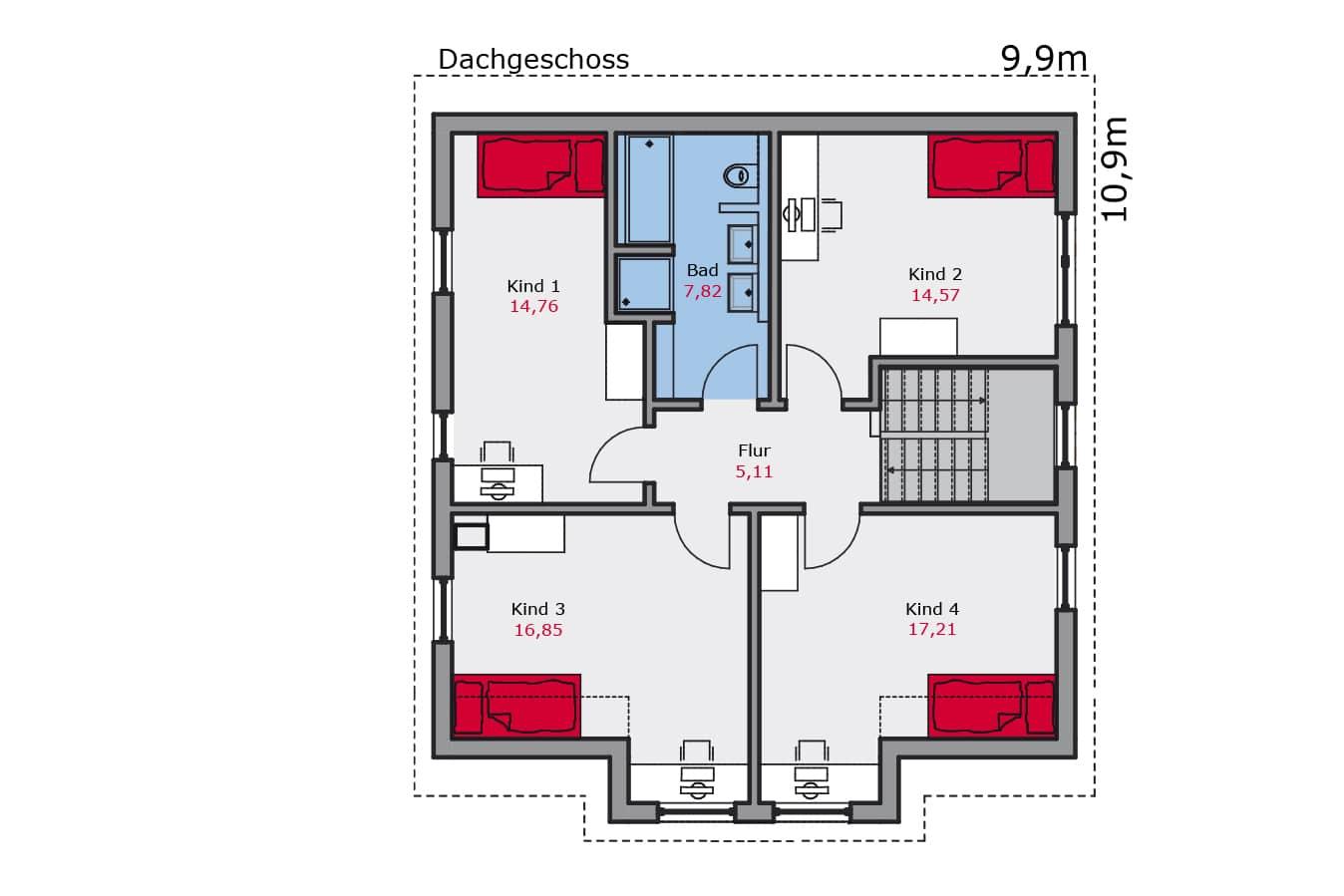 Haus129_Grundriss_Dachgeschoss_Zweifamilienhaus