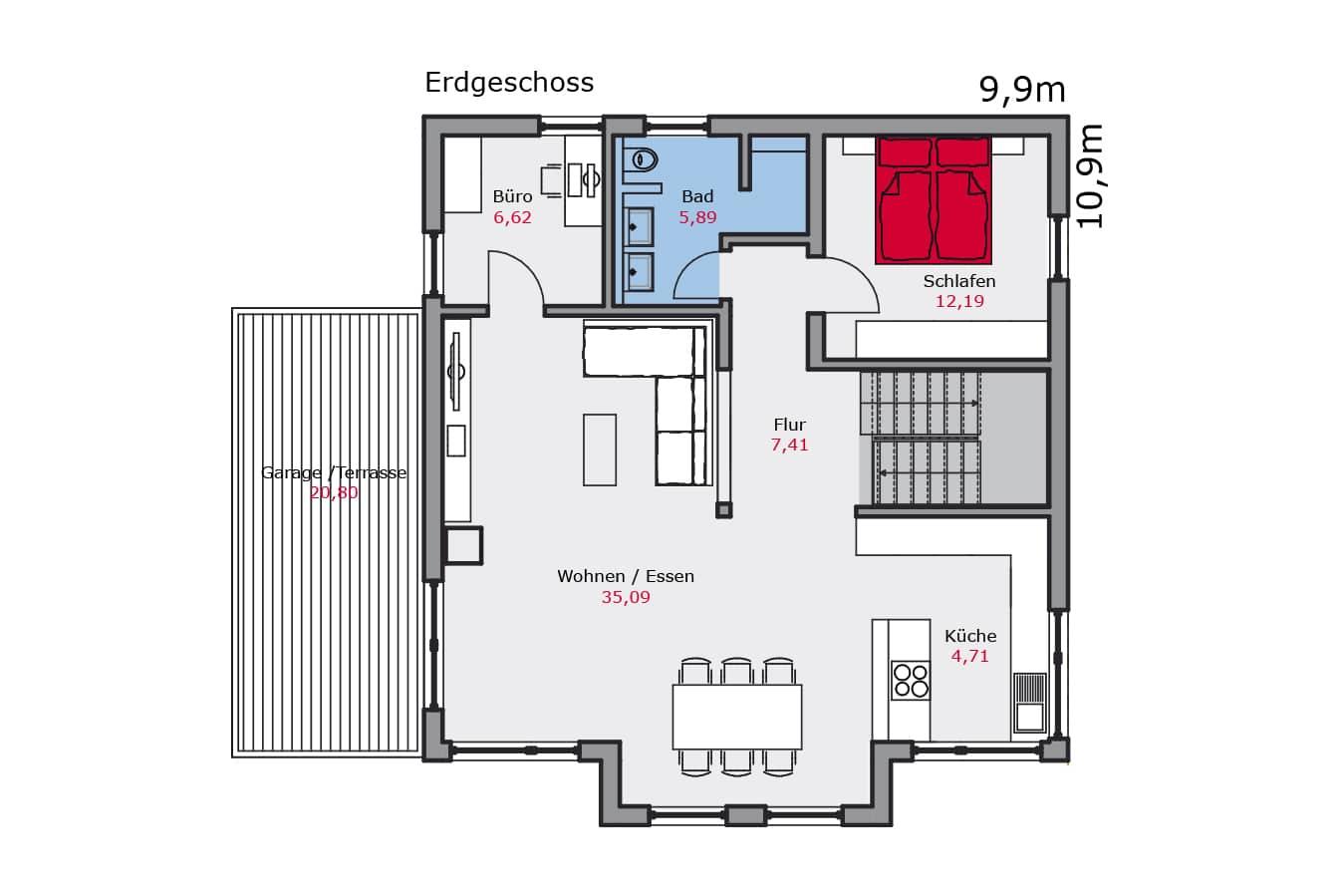 Haus129_Grundriss_Erdgeschoss_Zweifamilienhaus