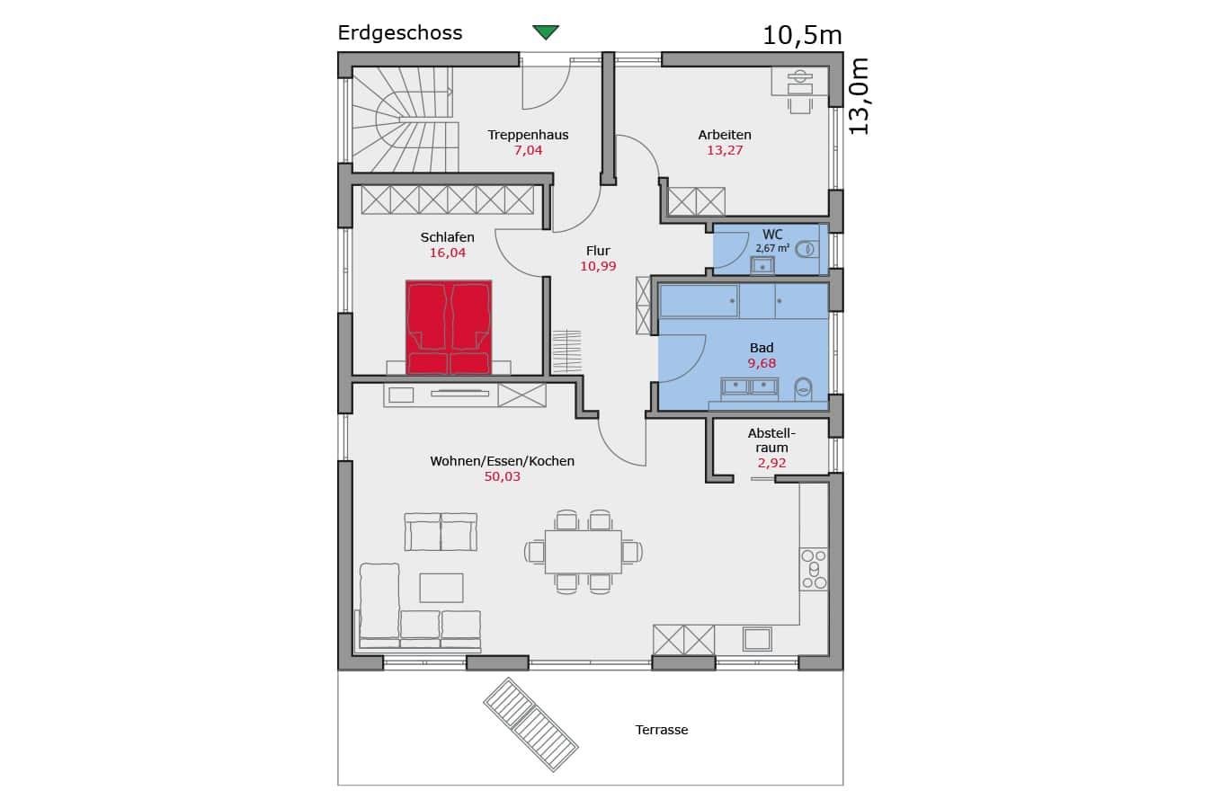 Haus133_Grundriss_Erdgeschoss_Zweifamilienhaus