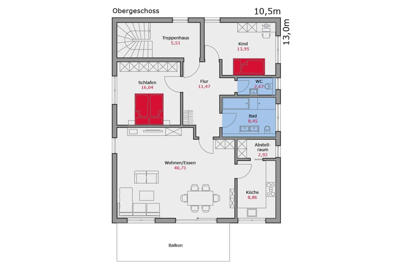 Haus133_Grundriss_Obergeschoss_Zweifamilienhaus
