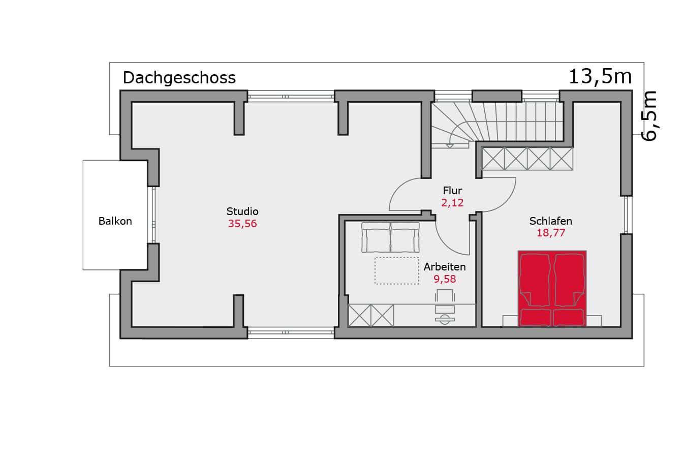 Haus134_Grundriss_Dachgeschoss_Zweifamilienhaus