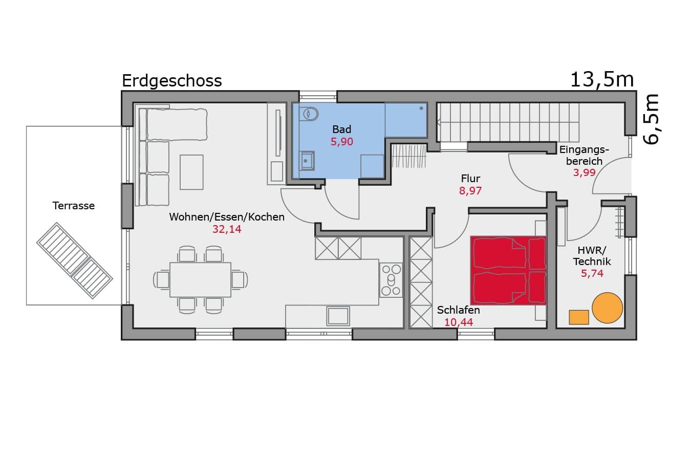 Haus134_Grundriss_Erdgeschoss_Zweifamilienhaus