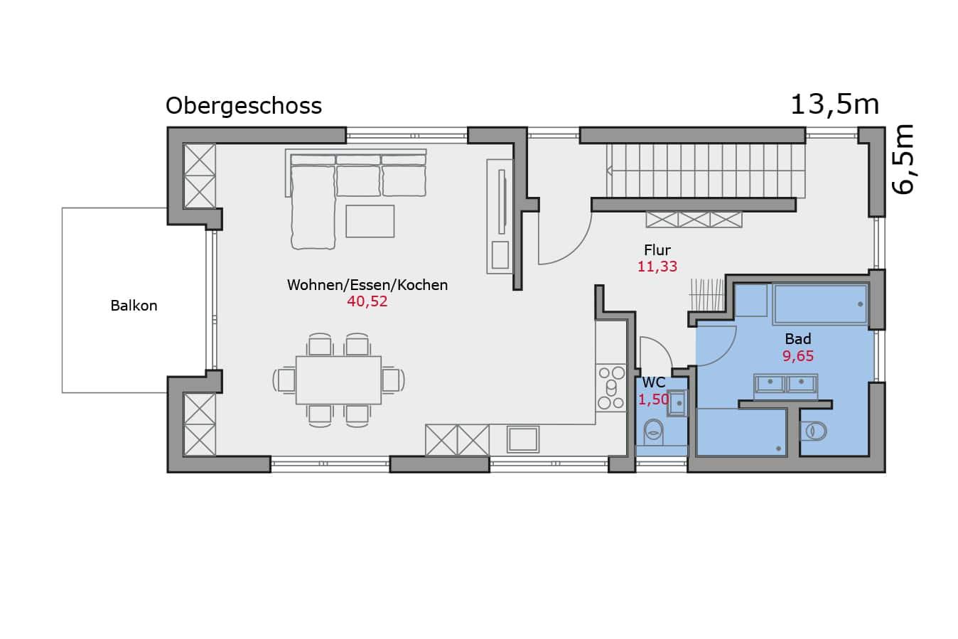 Haus134_Grundriss_Obergeschoss_Zweifamilienhaus