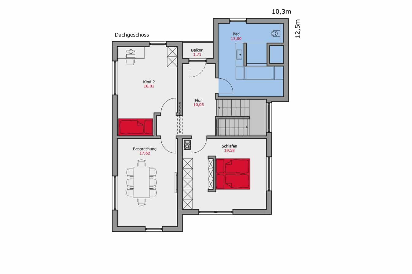 TALBAU-Haus_Musterhaus_Günzburg_Dachgeschoss_Grundriss_Fertighaus