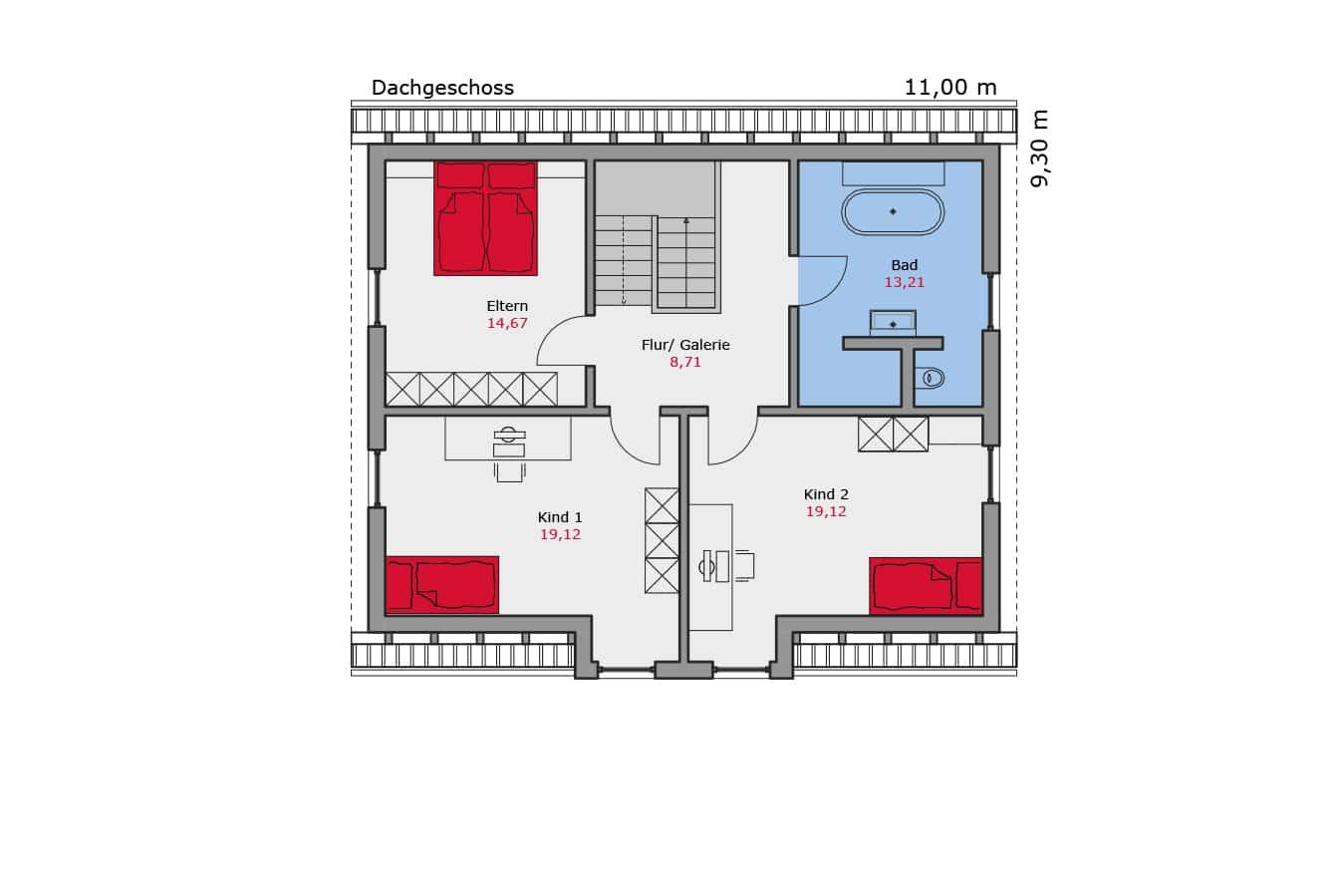 TALBAU-Haus_Musterhaus_Grundriss_Dachgeschoss_Einfamilienhaus
