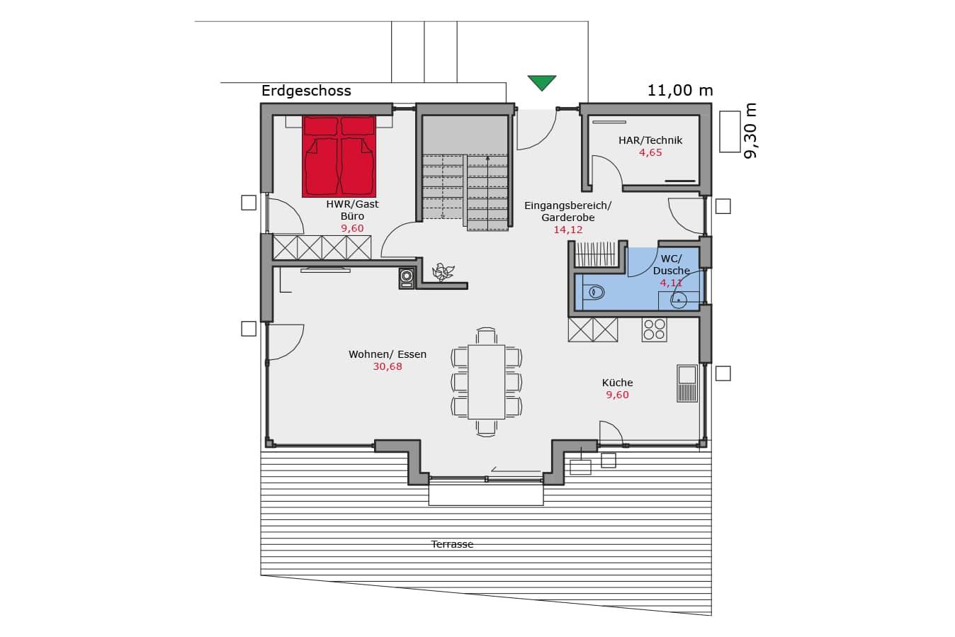 TALBAU-Haus_Musterhaus_Grundriss_Erdgeschoss_Einfamilienhaus