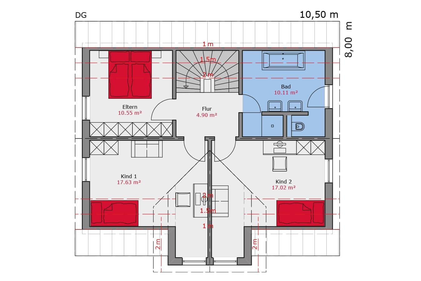 TALBAU Haus Haus111 Satteldach Vario4Plus Grundriss Dachgeschoss Einfamilienhaus