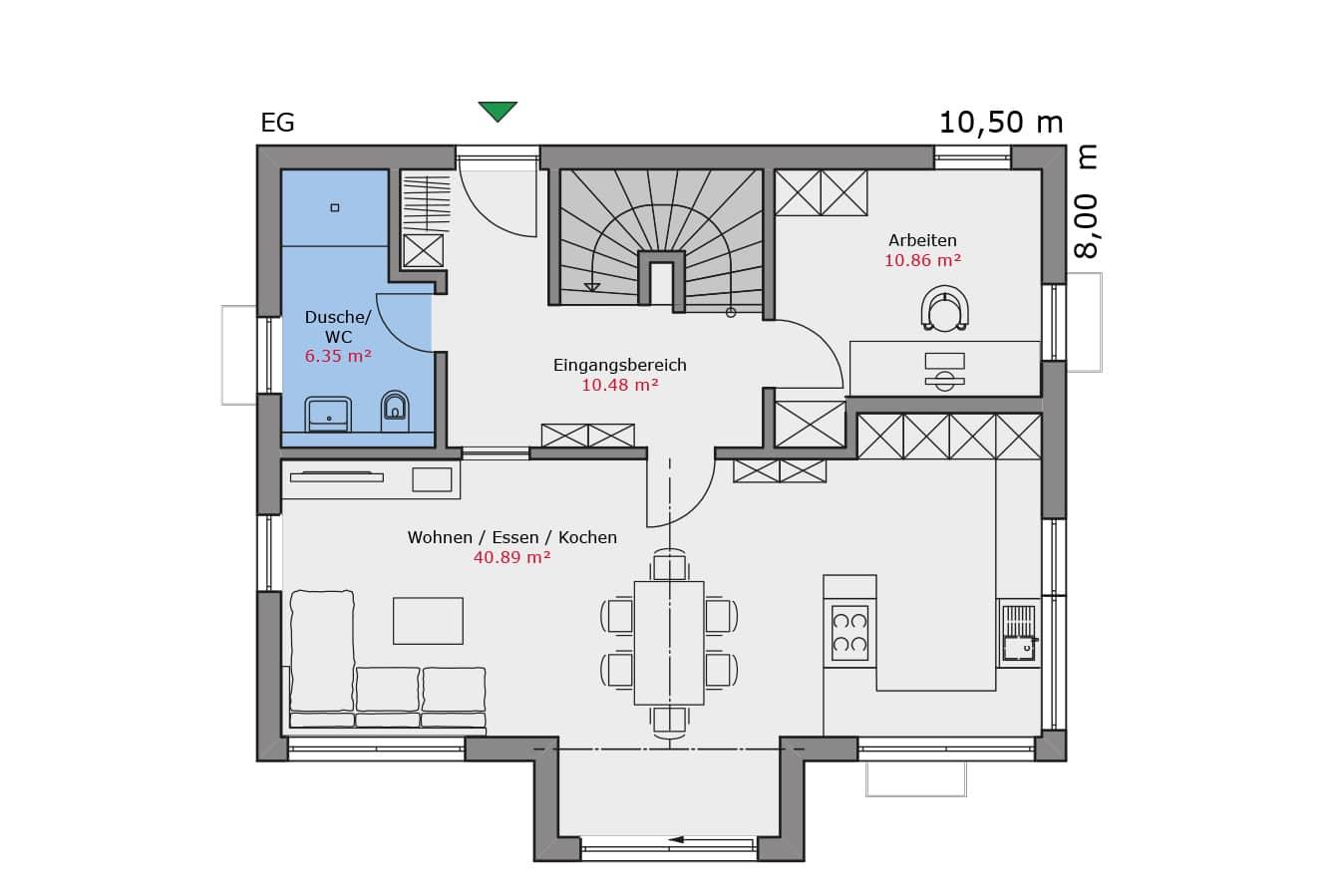 TALBAU Haus Haus111 Satteldach Vario4Plus Grundriss Erdgeschoss Einfamilienhaus