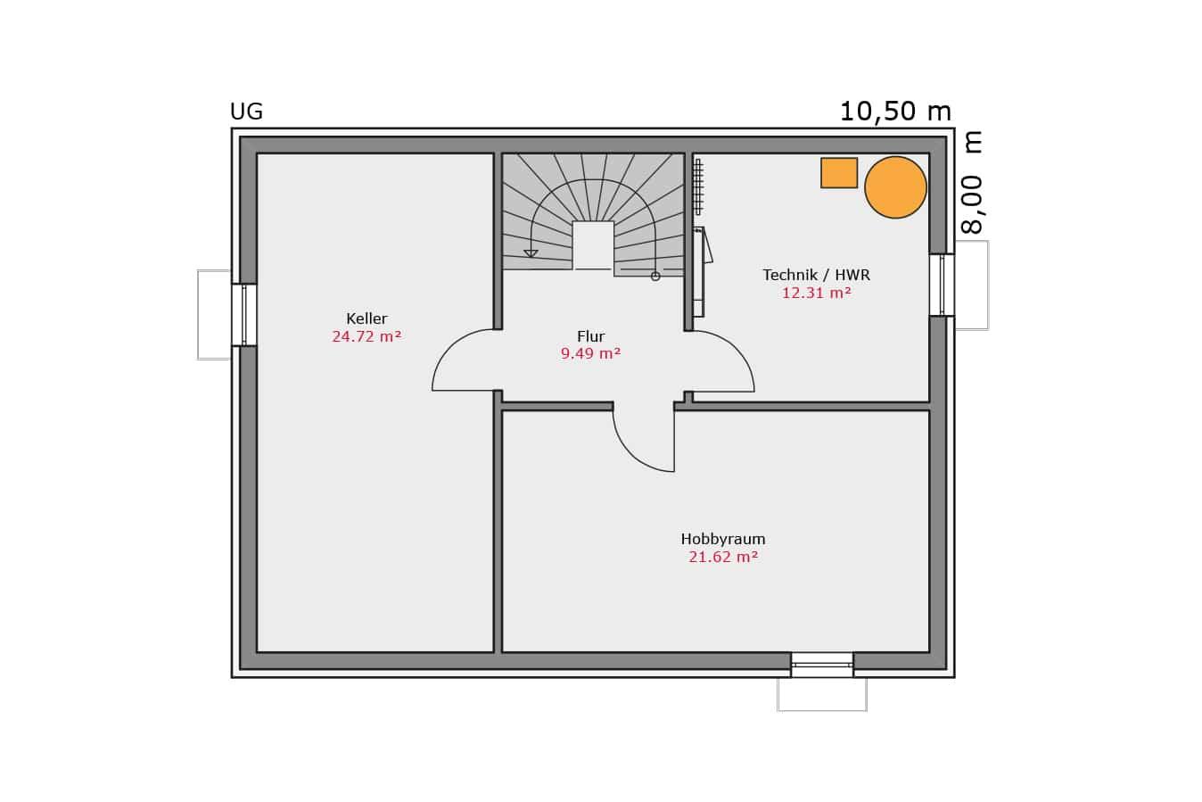 TALBAU Haus Haus111 Satteldach Vario4Plus Grundriss Untergeschoss Einfamilienhaus