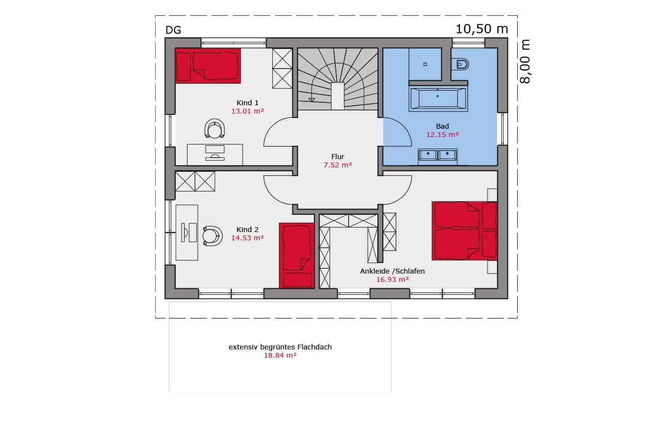 TALBAU Haus Haus112 Pultdach Vario4Plus Grundriss Dachgeschoss Einfamilienhaus