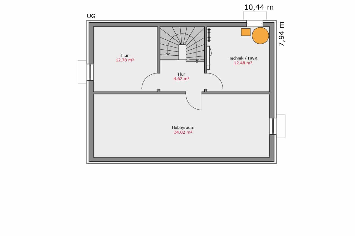 TALBAU Haus Haus112 Pultdach Vario4Plus Grundriss Untergeschoss Einfamilienhaus