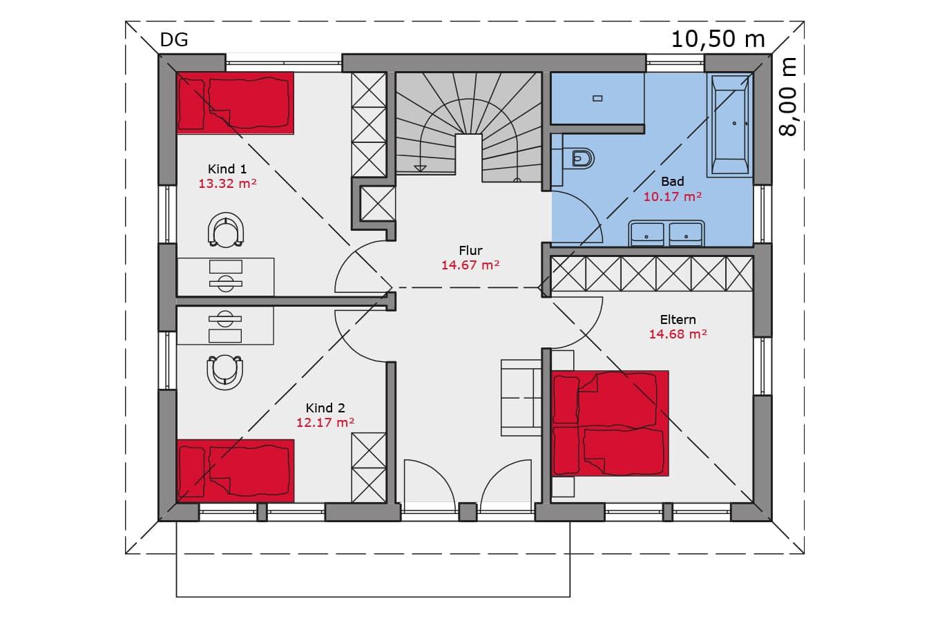 TALBAU Haus Haus113 Walmdach Vario4Plus Grundriss Dachgeschoss Einfamilienhaus