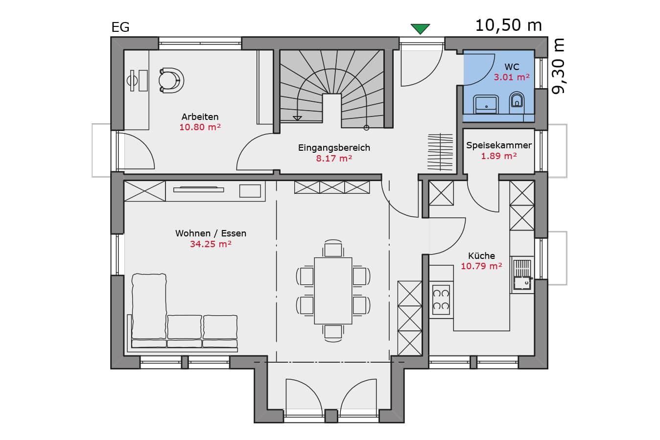 TALBAU Haus Haus113 Walmdach Vario4Plus Grundriss Erdgeschoss Einfamilienhaus