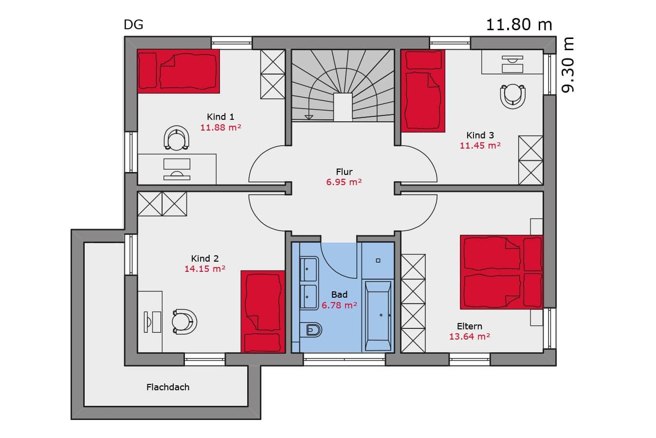 TALBAU Haus Haus114 Flachdach Vario4Plus Grundriss Dachgeschoss Einfamilienhaus