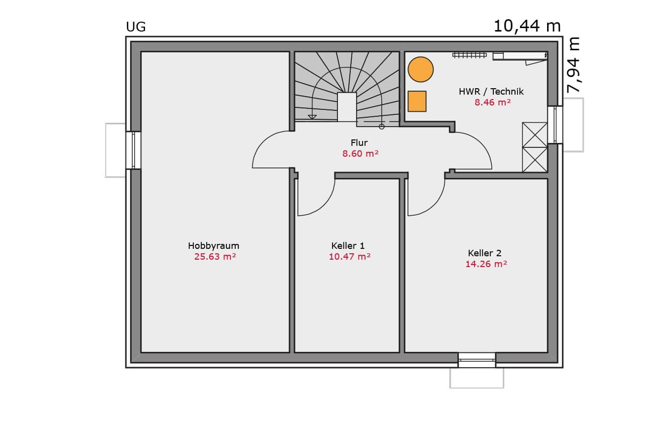 TALBAU Haus Haus114 Flachdach Vario4Plus Grundriss untergeschoss Einfamilienhaus