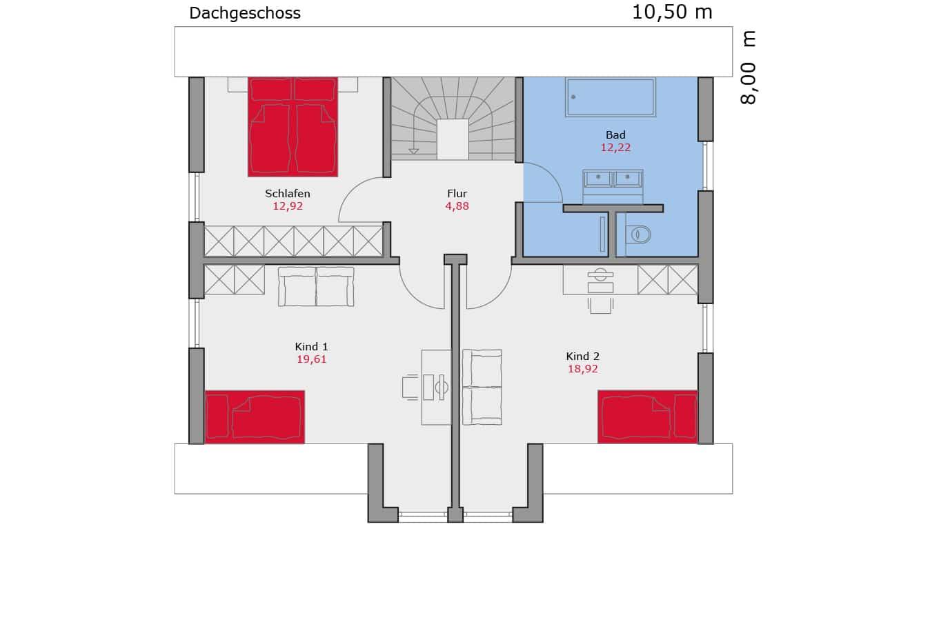 Haus111_Grundriss_Dachgeschoss_Satteldach_Einfamilienhaus