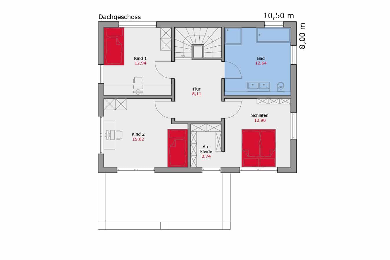 Haus112_Grundriss_Dachgeschoss_Pultdach_Einfamilienhaus_Talbau