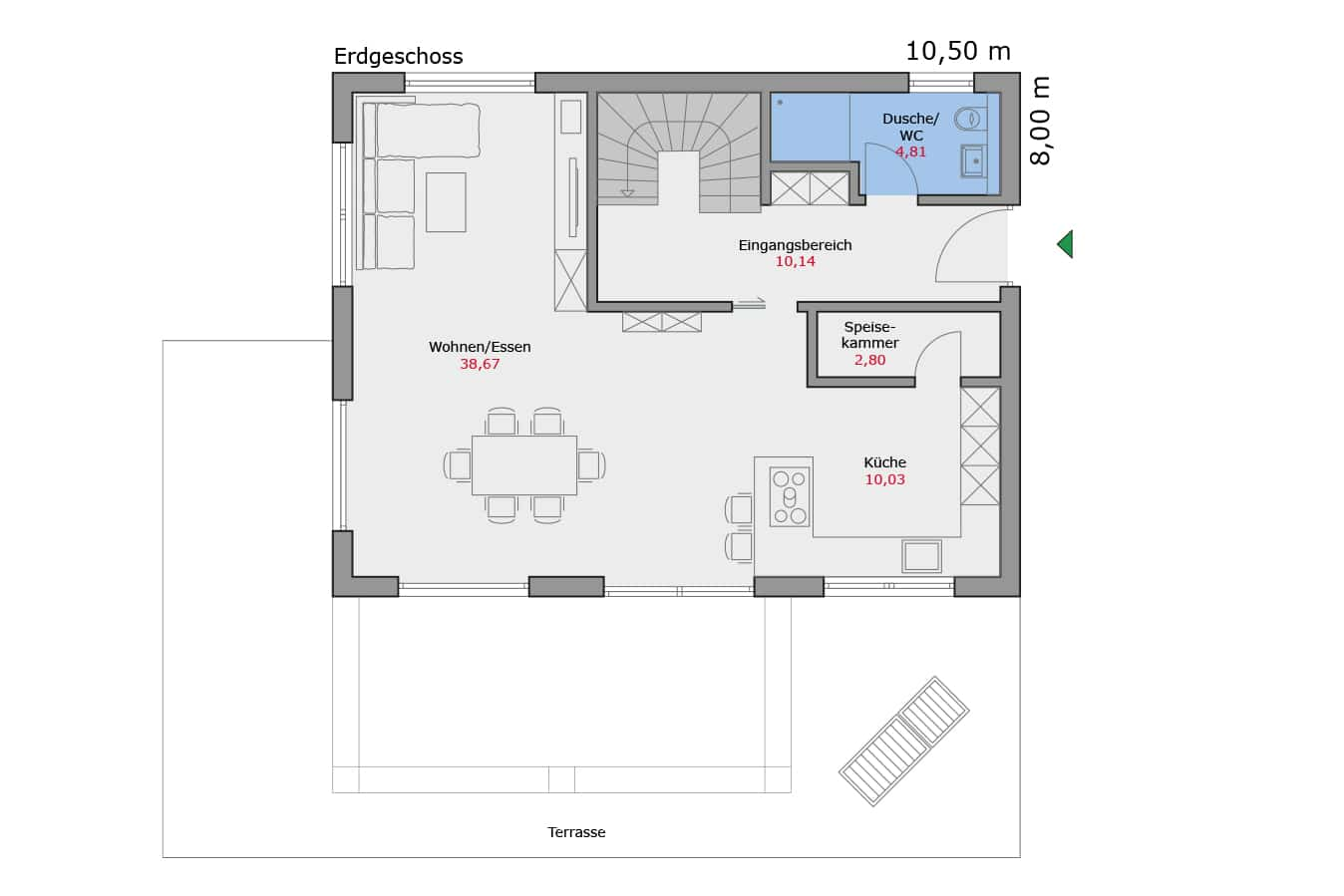 Haus112_Grundriss_Erdgeschoss_Pultdach_Einfamilienhaus_Talbau