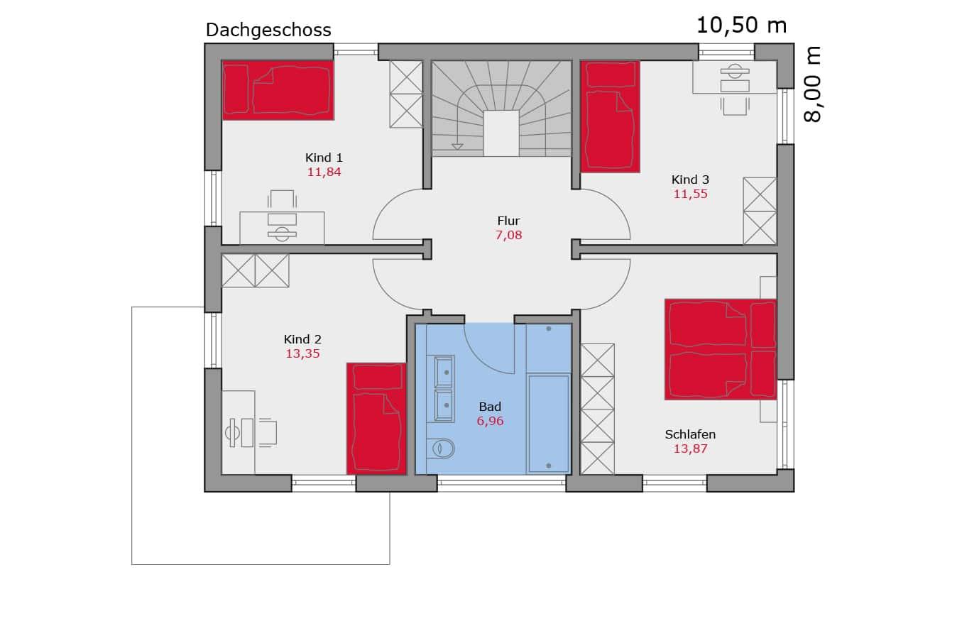 Haus114_Grundriss_Dachgeschoss_Flachdach_Einfamilienhaus_Talbauhaus