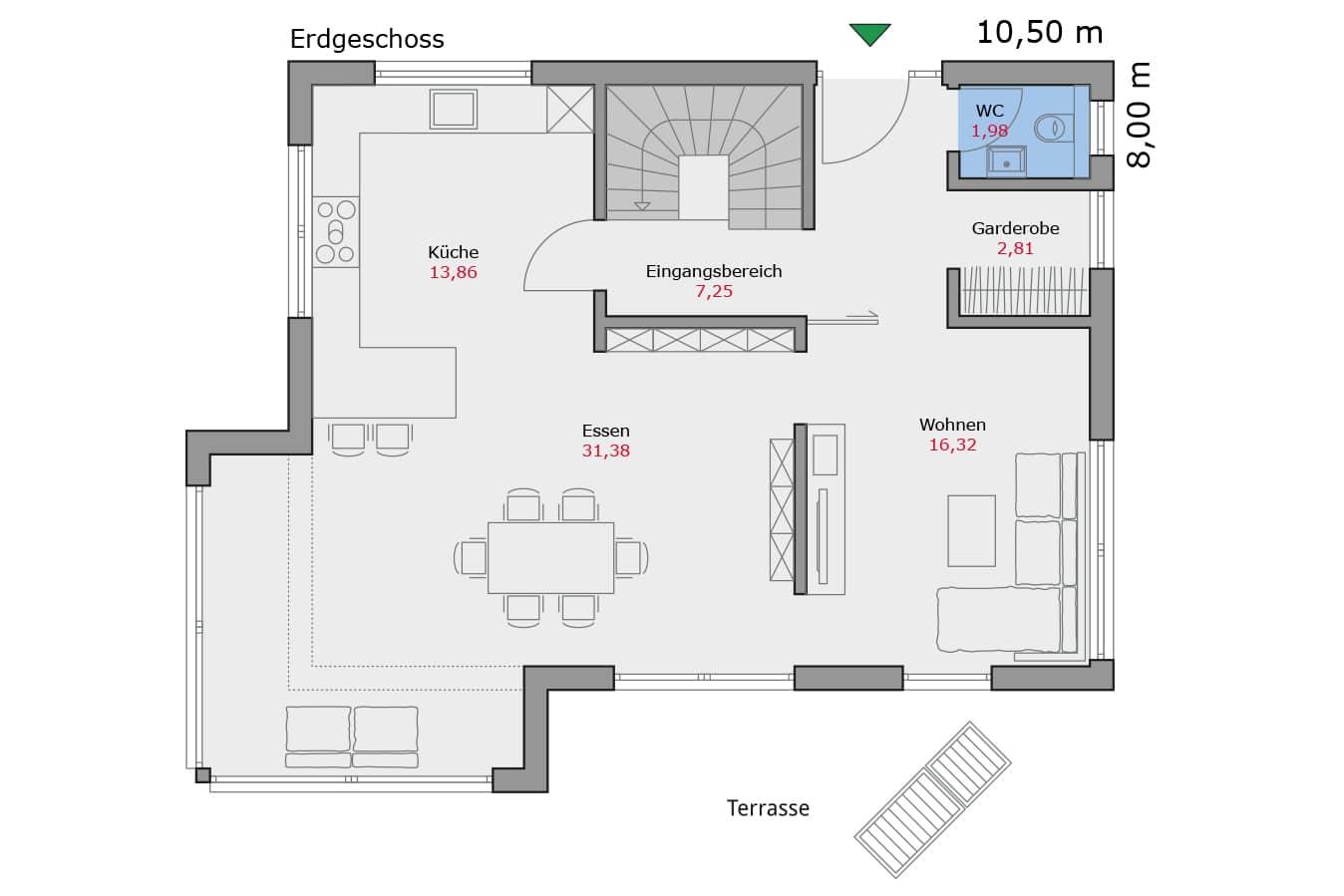 Haus114_Grundriss_Erdgeschoss_Flachdach_Einfamilienhaus_Talbauhaus
