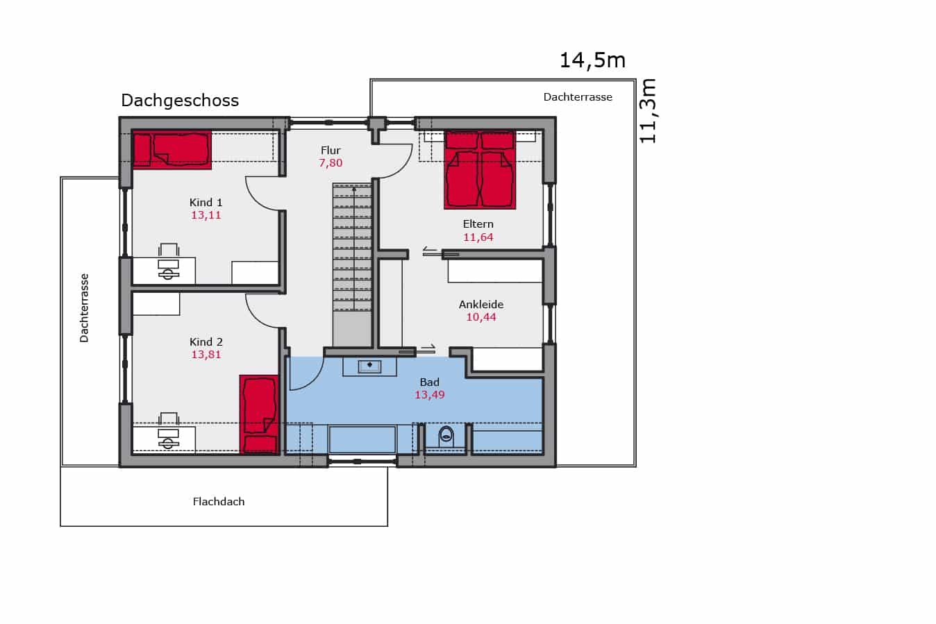 Haus142_Grundriss_Dachgeschoss_Zweifamilienhaus
