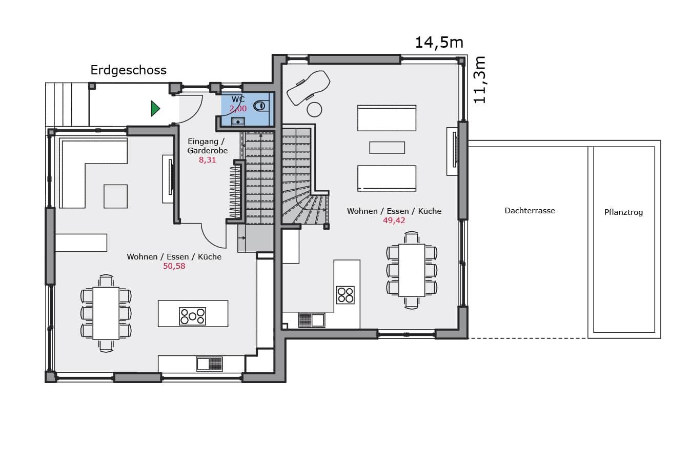 Haus142_Grundriss_Erdgeschoss_Zweifamilienhaus