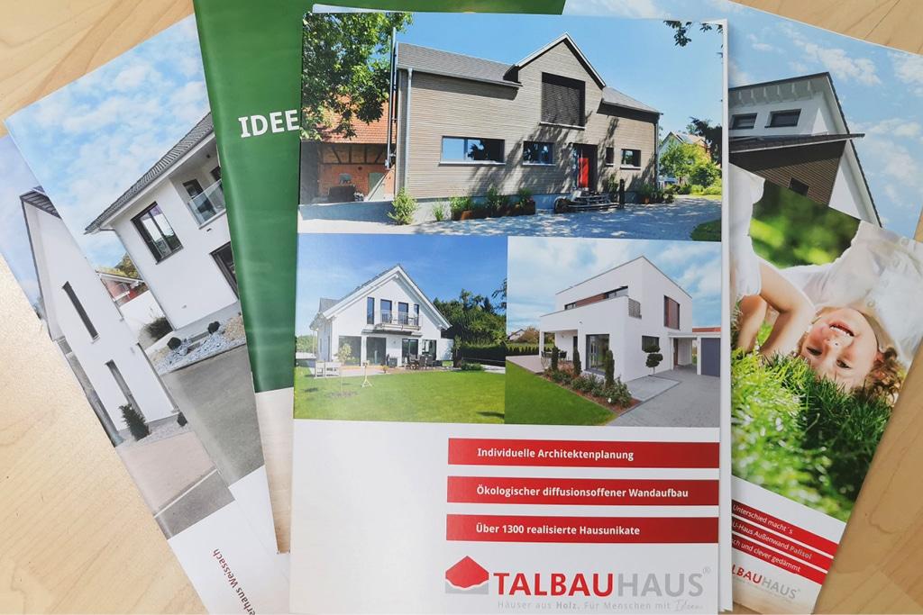 Infopaket bestellen Infomaterial Prospekte anfordern individuell TALBAU-Haus Prospekte