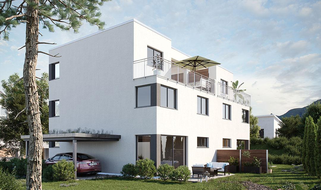Doppelhaus mit Flachdach bauen