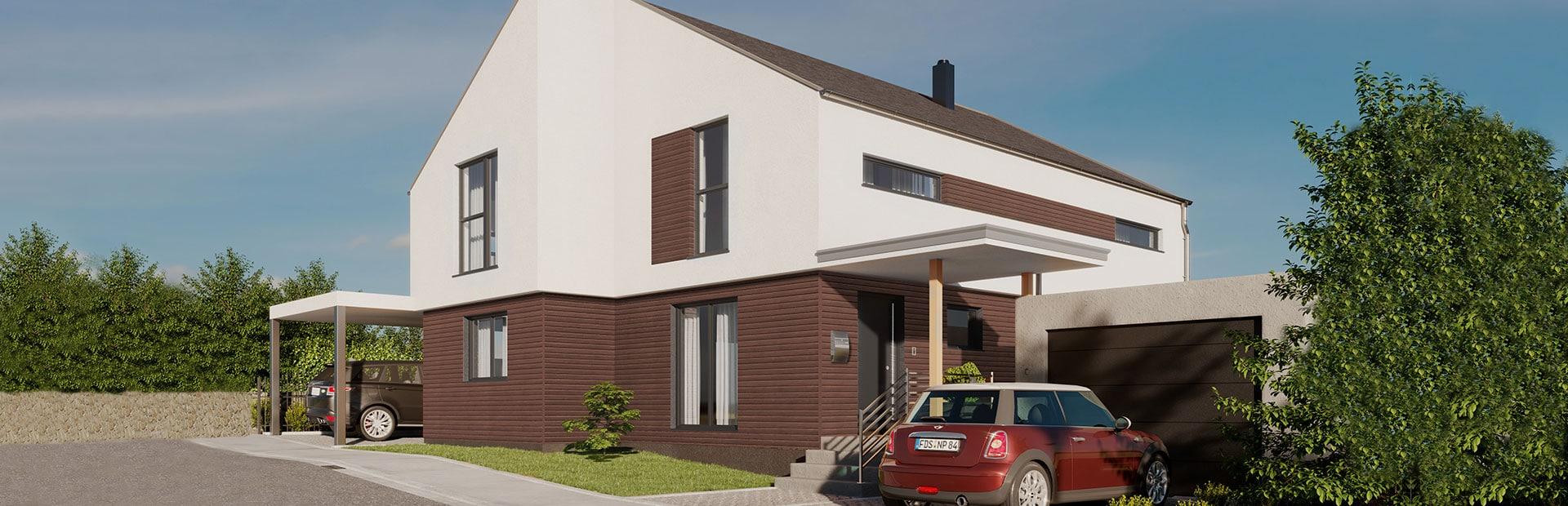 Einfamilienhaus mit reduziertem Dachvorsprung