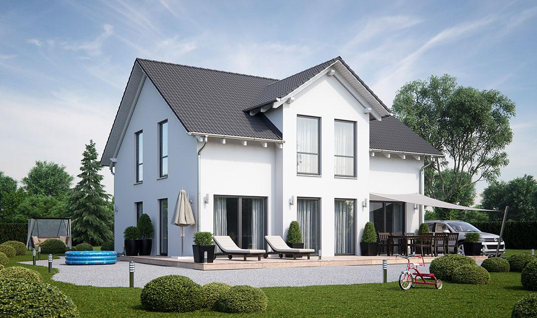 Einfamilienhaus mit Satteldach und Satteldachquerbau