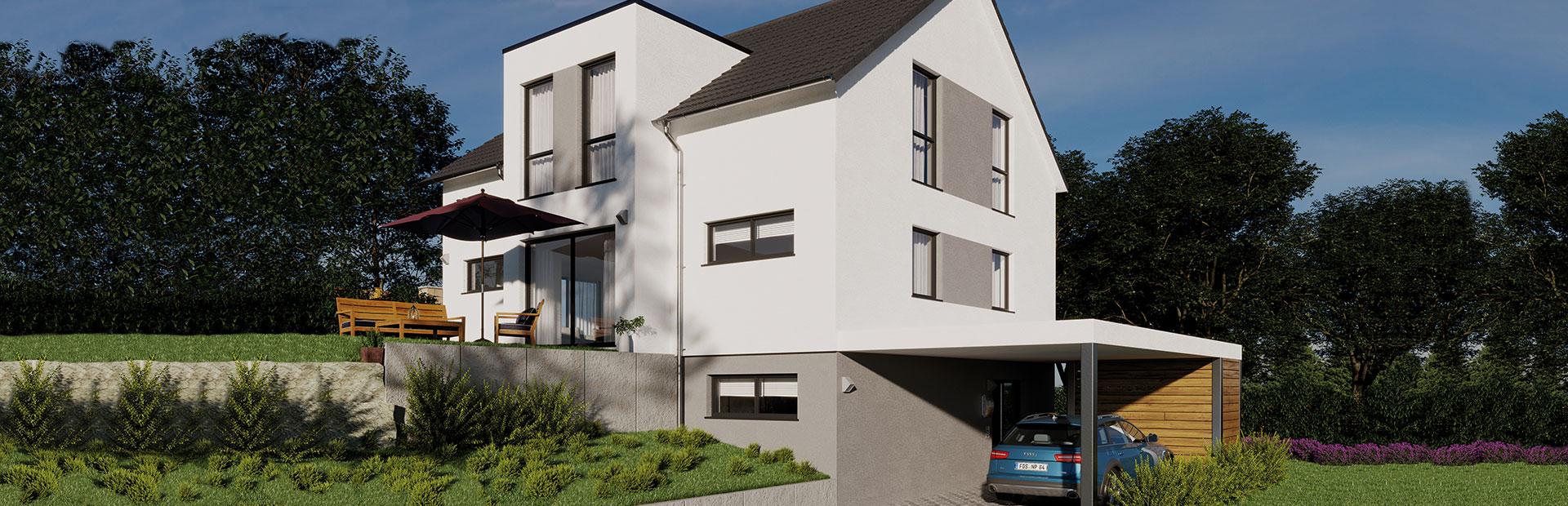 Einfamilienhaus mit Zufahrtsweg zu Grundstück am Hang bauen