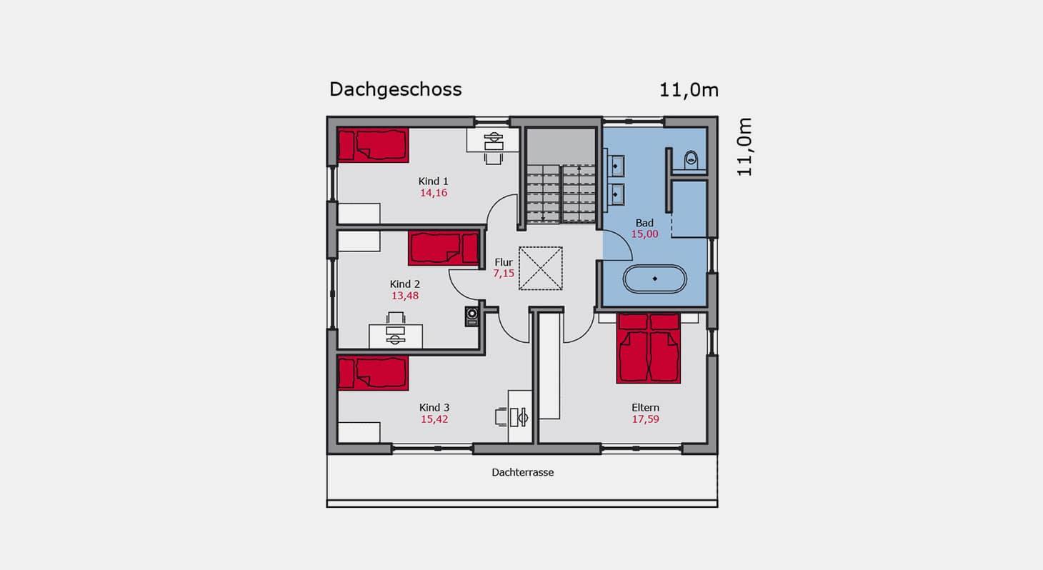 Grundriss Bauhaus e 132 DG