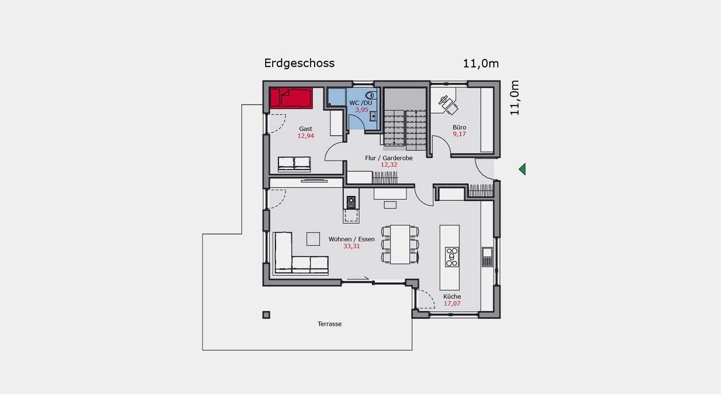 Grundriss Bauhaus e 132 EG