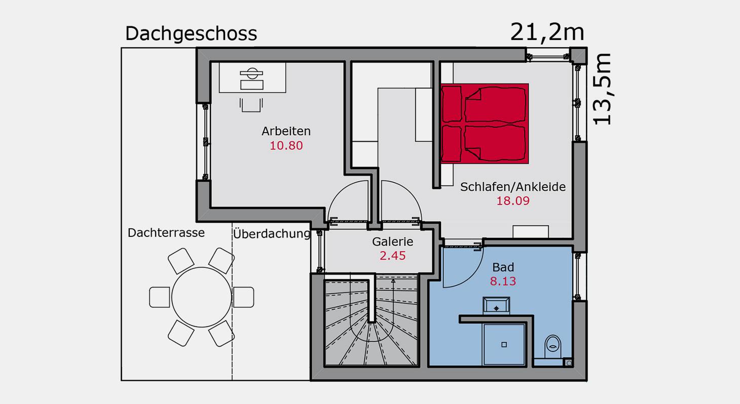 Grundriss – Doppelhaus d.144 DG