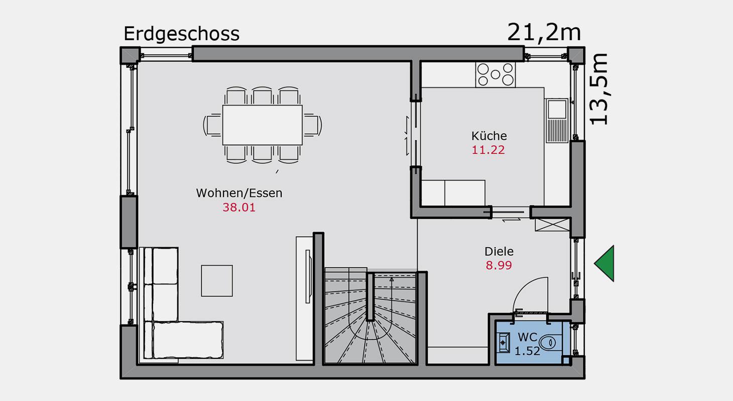Grundriss – Doppelhaus d.144 EG