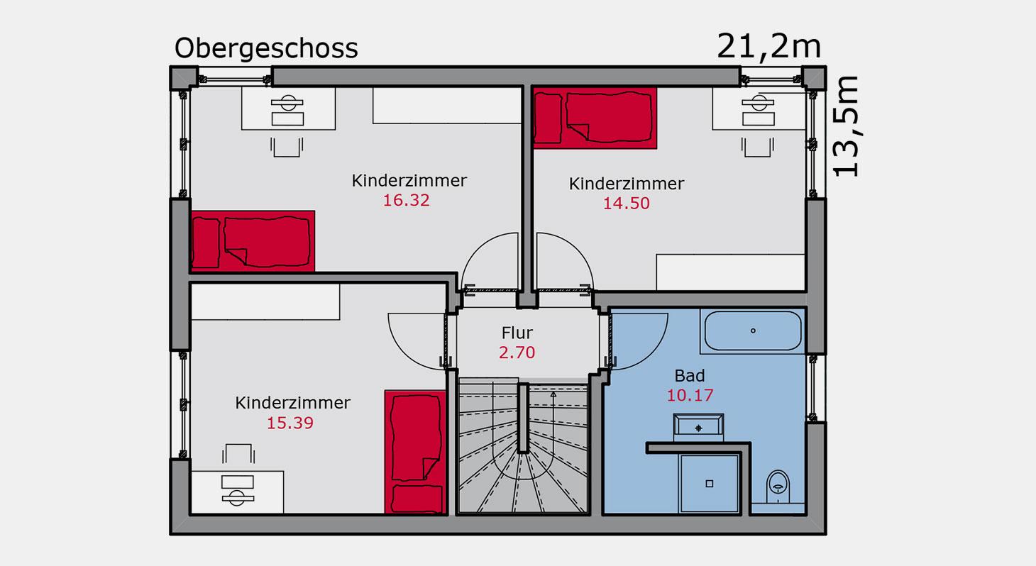 Grundriss – Doppelhaus d.144 OG