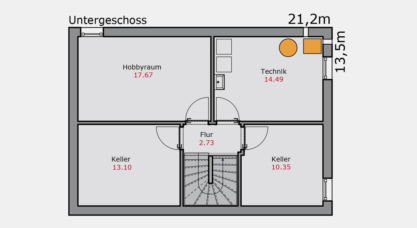 Grundriss – Doppelhaus d.144 UG