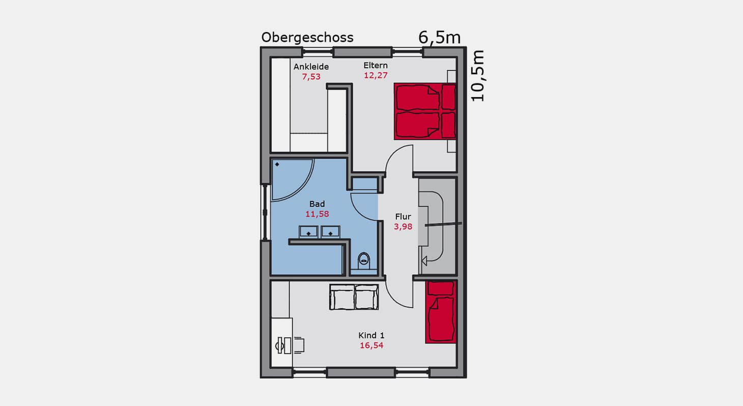 Grundriss – Doppelhaus d.145 OG