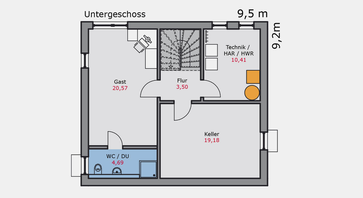 Grundriss – Einfamilienhaus e.117 UG