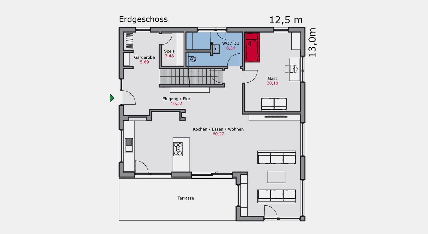 Grundriss – Einfamilienhaus e.126 EG