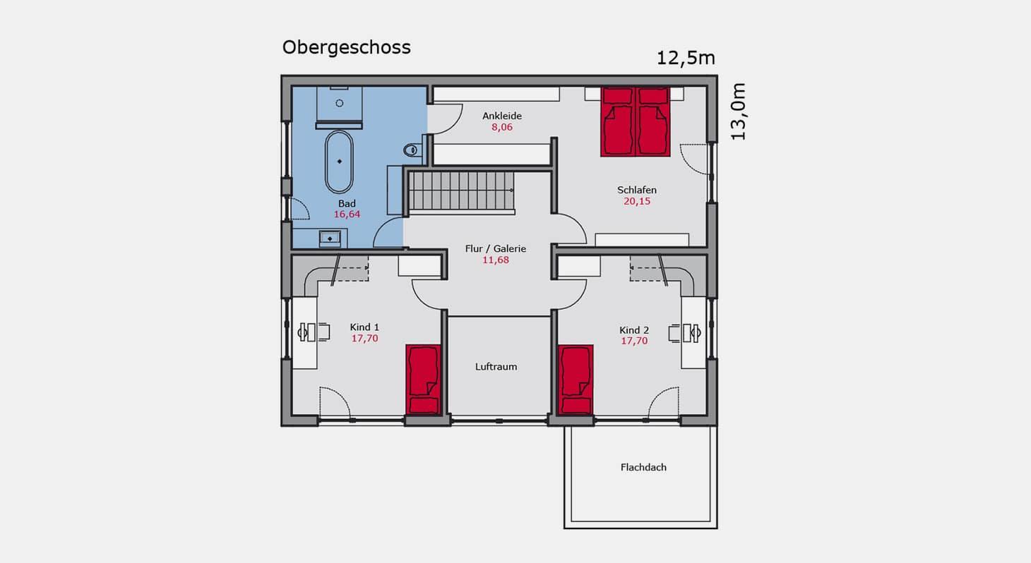 Grundriss – Einfamilienhaus e.126 OG