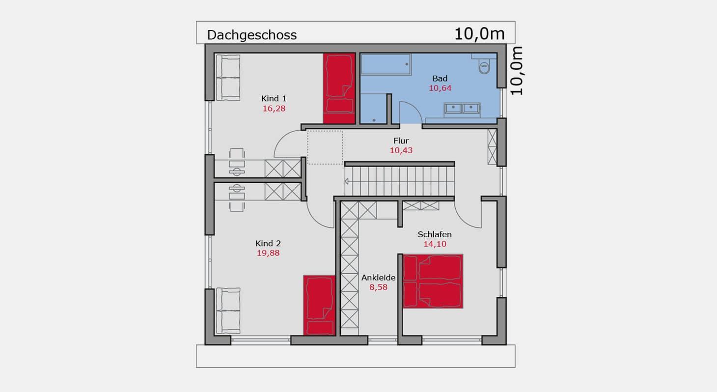 Grundriss – Einfamilienhaus e.127 DG