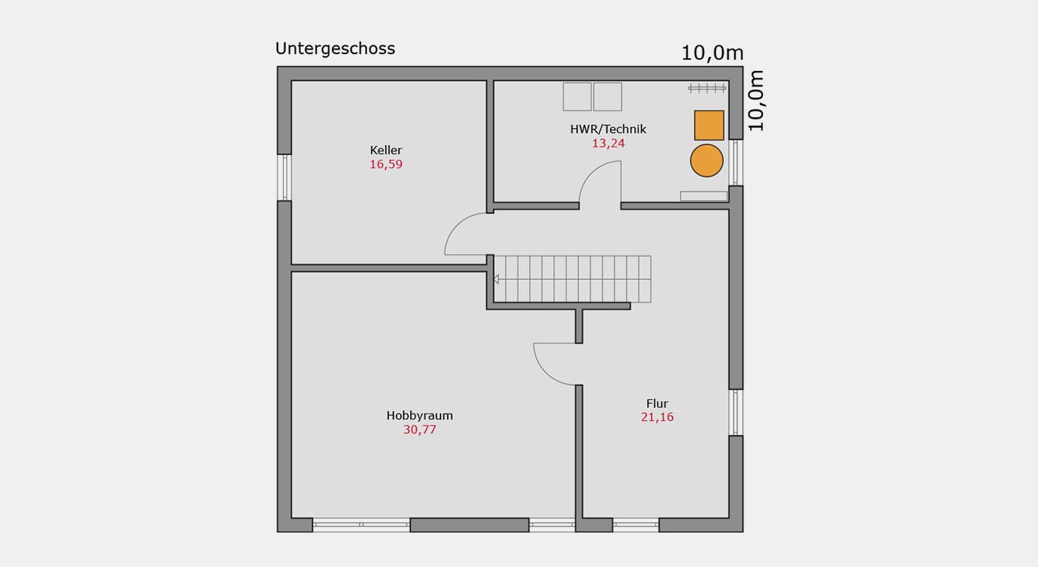 Grundriss – Einfamilienhaus e.127 UG
