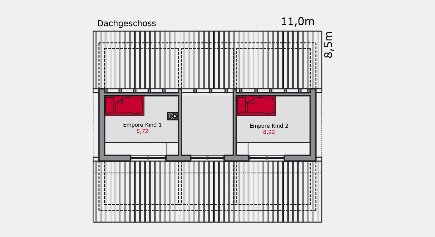 Grundriss – Einfamilienhaus e.128 DG