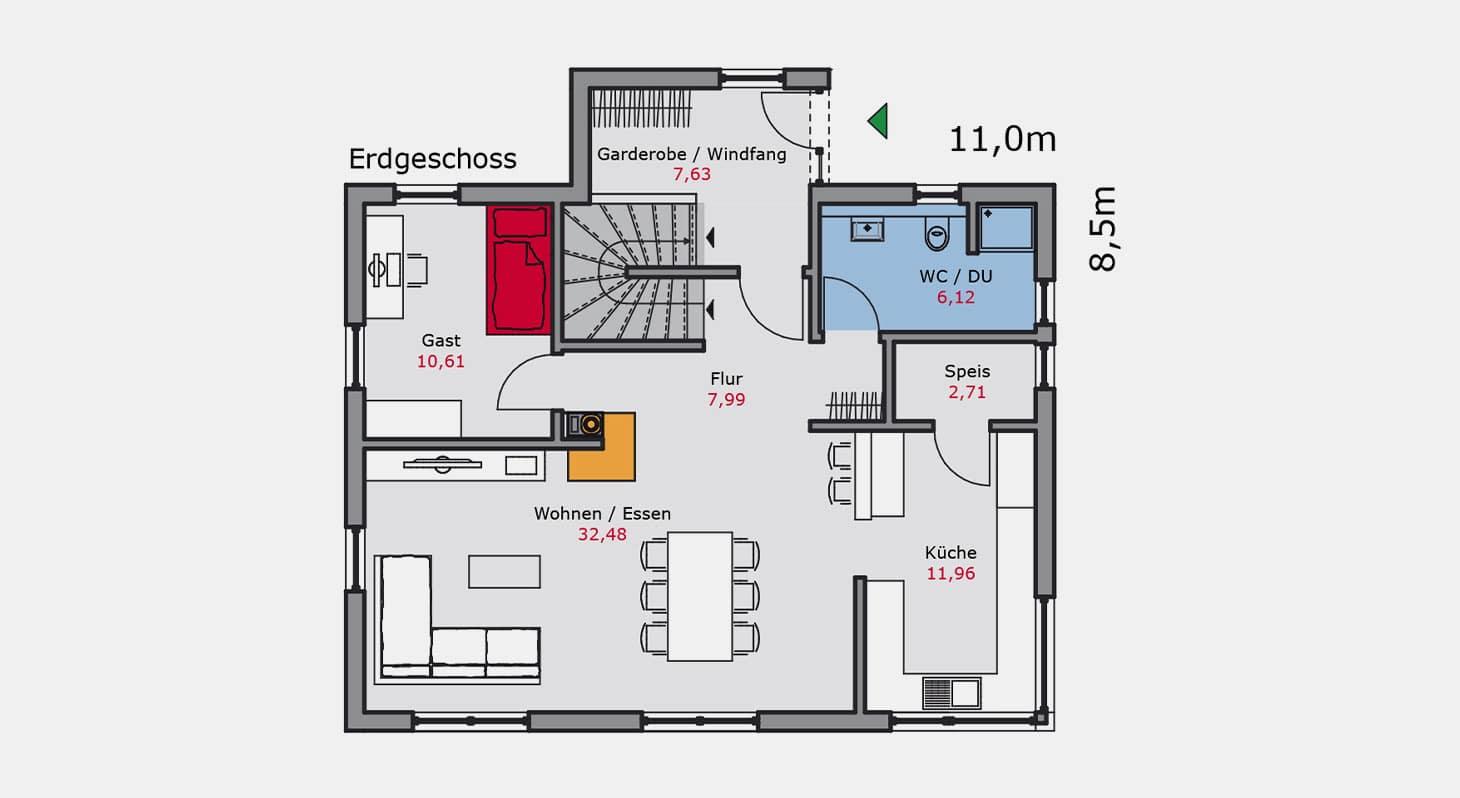 Grundriss – Einfamilienhaus e.128 EG