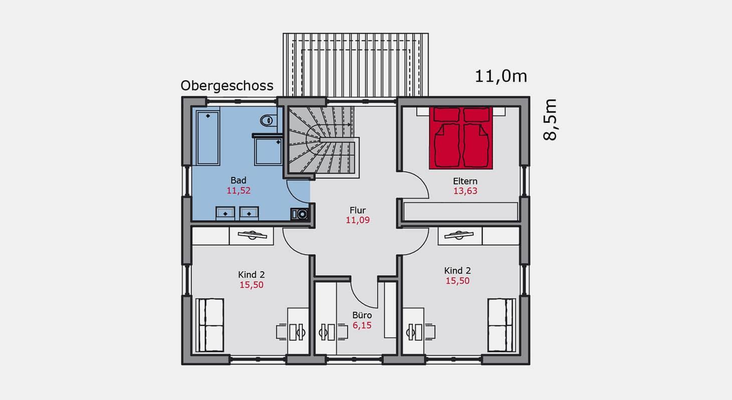 Grundriss – Einfamilienhaus e.128 OG