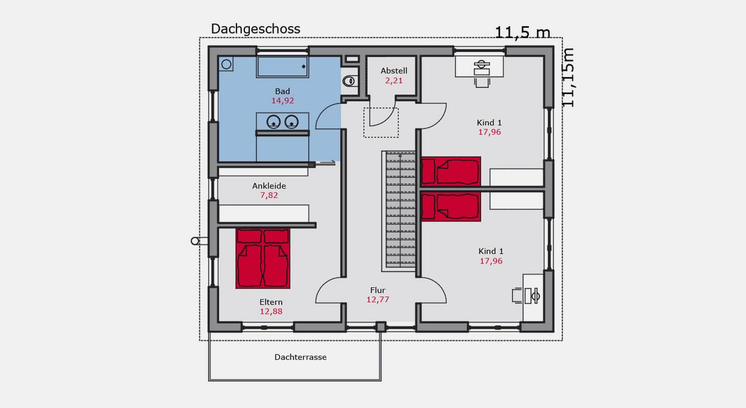 Grundriss – Einfamilienhaus e.130 DG