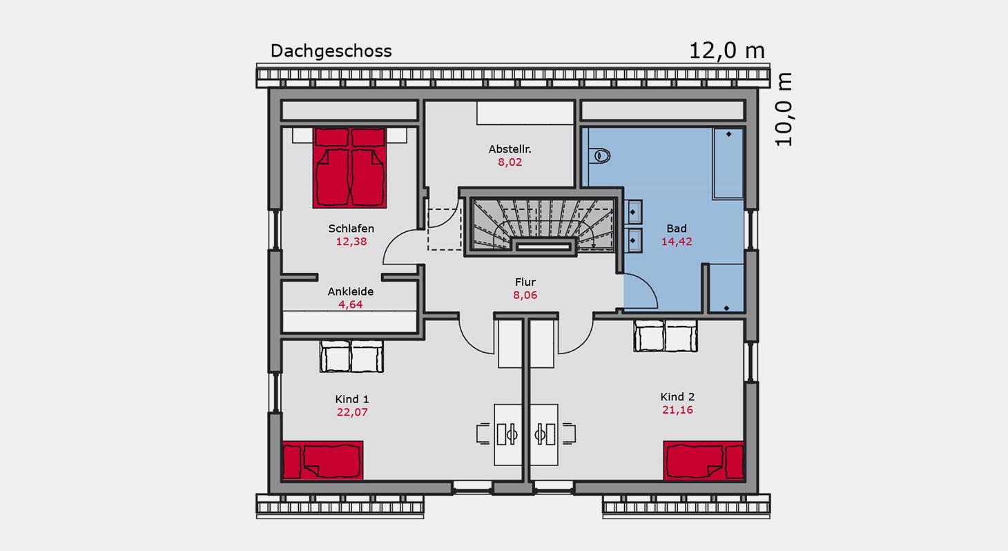 Grundriss – Einfamilienhaus e.131 DG