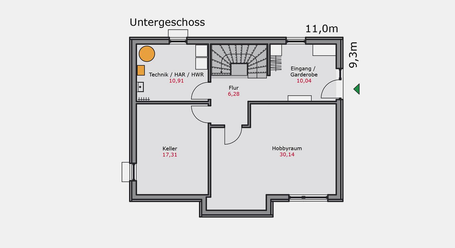 Grundriss - Einfamilienhaus e.136 UG