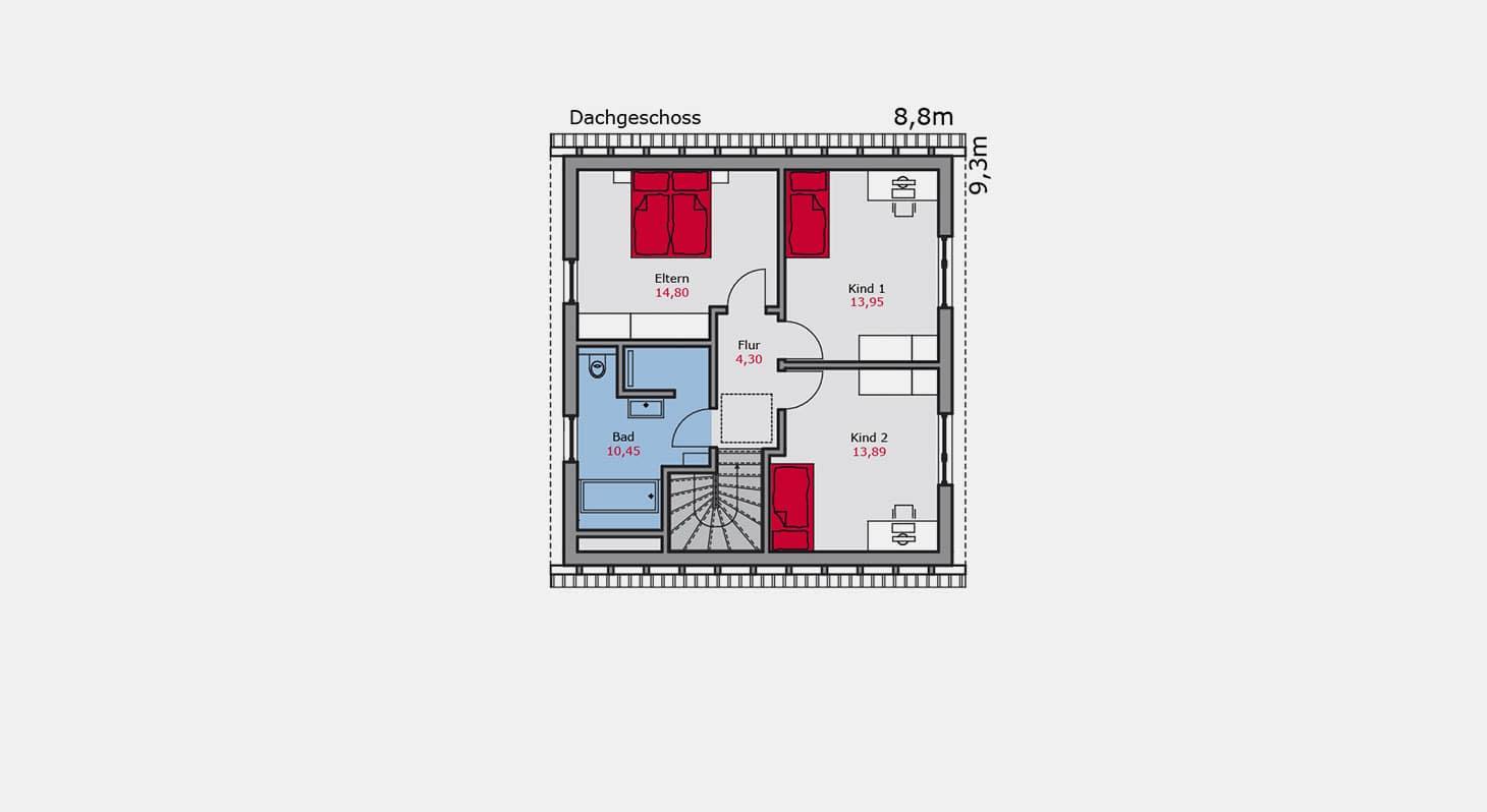 Grundriss - Einfamilienhaus e.146 DG